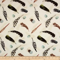 At The Lodge Flannel Feathers Allover Bone
