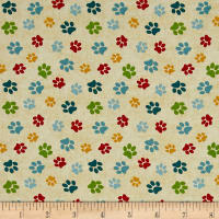 Dog Wisdom Paws Allover Tan Multi