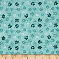 Dog Wisdom Paws Allover Aqua Blue