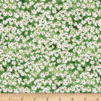 Roaming Wild Wildflowers Allover Green/White