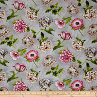 Tivoli Garden Tossed Flowers Light Gray