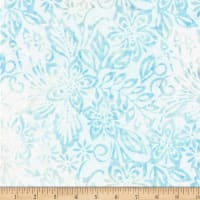 Wilmington Batiks Packed Floral Mix Light Blue