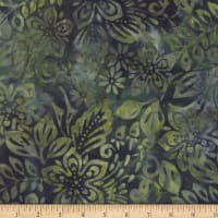 Wilmington Batiks Packed Floral Mix Dark Blue