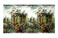 "Michael Miller Landscapes Floral Rose 36"" Panel Arbor Green"