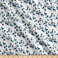 Liberty Fabrics Kensington Crepe de Chine Strawberry Fields Persian Blue/Green