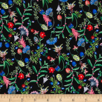 Liberty Fabrics Kensington Crepe de Chine Temptation Meadow Midnight Blue/Pink/Green