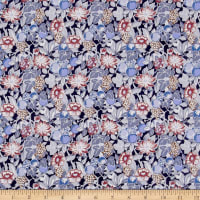 Liberty Fabrics Kensington Crepe de Chine Bourdeaux Blue Red
