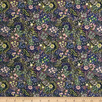 Liberty Fabrics Kensington Crepe de Chine Elderberry Blue/Yellow/Pink