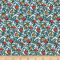 Liberty Fabrics Kensington Crepe de Chine Huckleberry Turquoise/Mustard/Coral