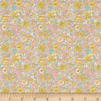 Liberty Fabrics Classic Tana Lawn Amelie Roses Yellow Pink