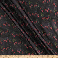 Liberty Fabrics Regent Silk Chiffon Strawberry Fields Navy Blue/Red/Green