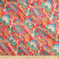 Liberty Fabrics Regent Silk Chiffon Citronella Teal/Red/Multi