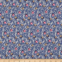 Liberty Fabrics Regent Silk Chiffon Huckleberry Blue/Coral/Grey