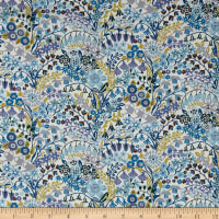 Liberty Fabrics Tana Lawn Mary Mary Blue/Yellow