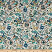 Liberty Fabrics Tana Lawn Mythical Forest Turquoise/Pink/Yellow