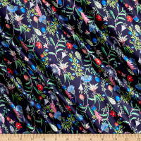 Liberty Fabrics Belgravia  Silk Satin Charmeuse Temptation Meadow Midnight Blue/Pink