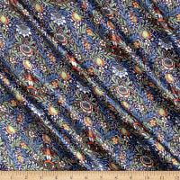 Liberty Fabrics Belgravia  Silk Satin Charmeuse Peach Pincher Blue/Green