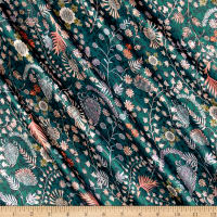 Liberty Fabrics Belgravia  Silk Satin Charmeuse Crochet Meadow Emerald/Pink