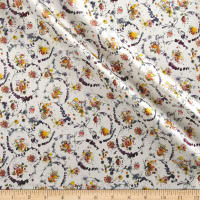 Liberty Fabrics Belgravia Silk Satin Floral Thyme White/Purple/Yellow