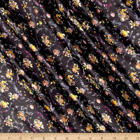 Liberty Fabrics Belgravia Silk Satin Charmeuse Floral Thyme Black/Purple