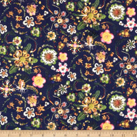 Liberty Fabrics Tana Lawn Synchronised Dinner Navy Blue/Green