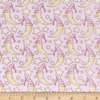 Moons and Stars Flannel Baby Pink