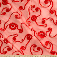 Embroidered Ribbon Organza Red