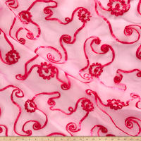 Embroidered Ribbon Organza Hot Pink