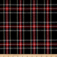 Luxury Wool Crepe Suiting Black/Red/Green Plaid