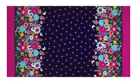 "Michael Miller Flutterby Floral Flutterby Double Border 38"" Panel Navy"