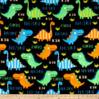 Polar Fleece Bright Dinos Black