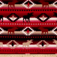 Polar Fleece Moose Stripe Red/Brown