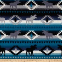 Polar Fleece Moose Stripe Blue/Grey