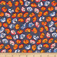 Poppy Florals Rayon Shirting Orange/Denim
