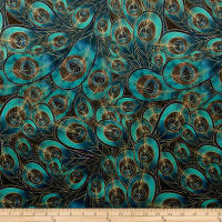 Morgan Peacock Feather Printed Velvet