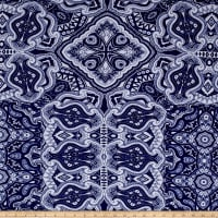 ITY Jersey Knit Abstract Paisley Royal/White