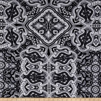 ITY Jersey Knit Abstract Paisley Navy/White
