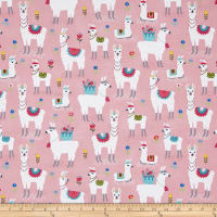 Timeless Treasures Alpaca Adventures Alpaca Pink