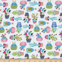 Timeless Treasures Alpaca Adventures Potted Cactus White