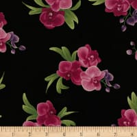 Timeless Treasures Wild Orchid Spaced Orchid Bouquets Black