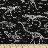 Timeless Treasures Glow In The Dark Dinosaur Skeletons Black