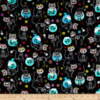 Timeless Treasures Flannel Cat Skeletons & Fishbowls Black