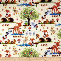 Timeless Treasures Flannel Woodland Scene Cream