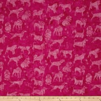 Island Batik Cotton Dogs Hot Pink