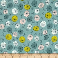 Modern Retro Flowers Blue