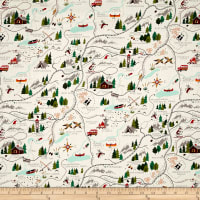 Alexander Henry Christmas Time Sugar Mountain Trail Map Natural