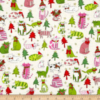Alexander Henry Christmas Time Jingle Cats Natural/Pink