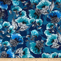 Italian Digital Floral Print Viscose Jersey Knit Blue/Teal