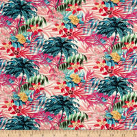 Italian Digital Tropical Hawaiian Viscose Lycra Knit Teal/Coral/Yellow