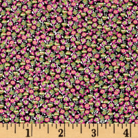 French Ditsy Floral Print Viscose Challis Green/Pink/Yellow